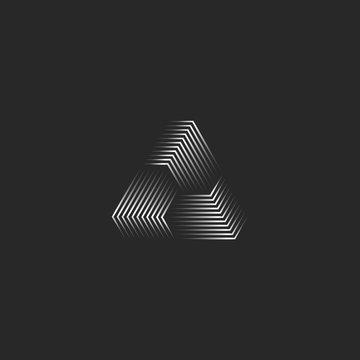 Triangle logo creative 3d pyramid shape black and white thin lines, cyber futuristic geometric infinity form modern minimal style