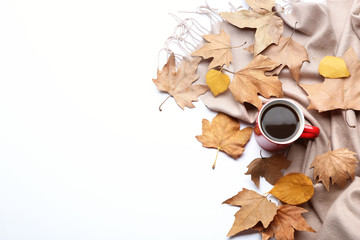Composition with hot drink on white background, top view. Cozy autumn