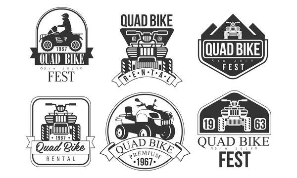 Quad Bike Fest Premium Retro Labels Set, Rental Service Monochrome Badges Vector Illustration
