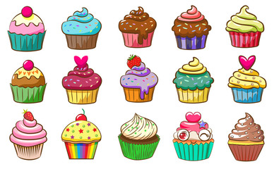 cupcake  vector set clipart design