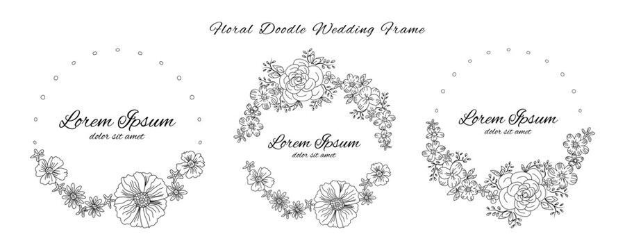 floral flower doodle sketch wedding frame ornament invitation card template collection vector illustration