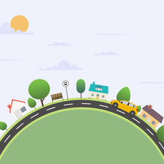 Urban city scene with nature landscape vector illustration.Nature scene with road and sky background.Flat town with car travel