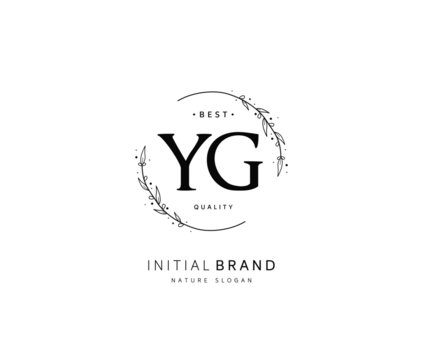 Y G YG Beauty vector initial logo, handwriting logo of initial signature, wedding, fashion, jewerly, boutique, floral and botanical with creative template for any company or business.