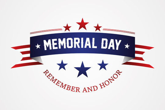 Memorial day - American flag ribbon with lettering Memorial Day