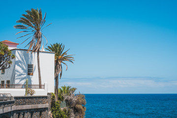 Zelfklevend Fotobehang Canarische Eilanden house with ocean view, palm trees and blue sky copy space - Canary Islands