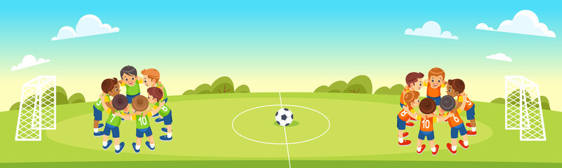 Children s Football Team on the Pitch. Boys in green and orange Soccer Kits Standing Together on the Football Field. Motivated Young soccer players. Vector cartoon illustration.