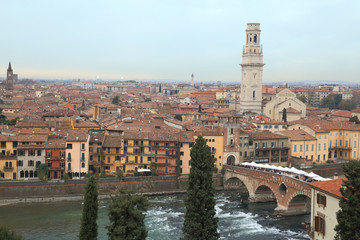 cityscape of Verona and river in Italy