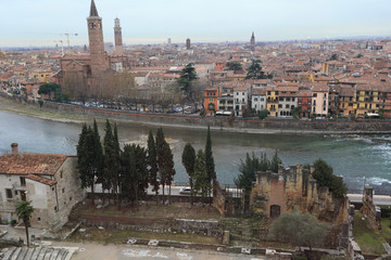 cityscape of Verona and river, viewed from Roman ruins