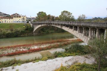 scenic landscape at the broken bridge of Belluno, Italy