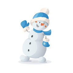 Cartoon snowman illustration. Winter holidays character isolated on white background