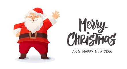 Merry Christmas card. Funny cartoon Santa Claus smiling and waving
