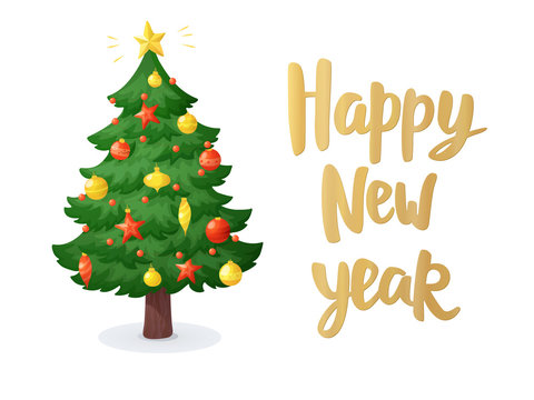 Happy new year card. Cartoon Christmas tree isolated on white background. Decorations with stars, balls and garlands