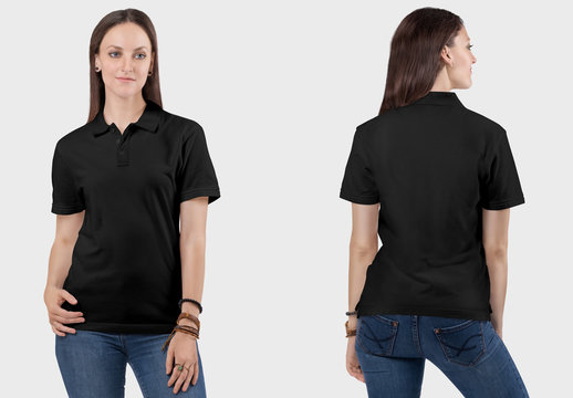Front back view of female model wearing black polo plain t shirt