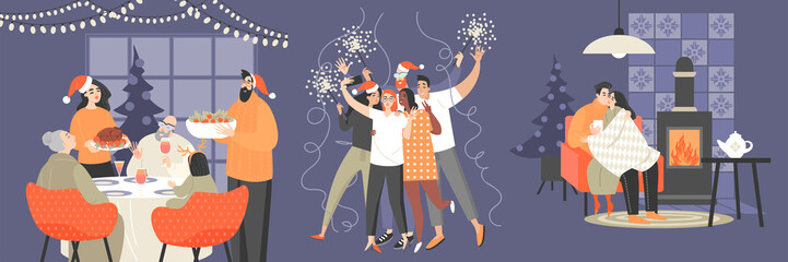 Set of illustrations with family, a group of friends and a couple celebrating Christmas and New Year. Wall mural
