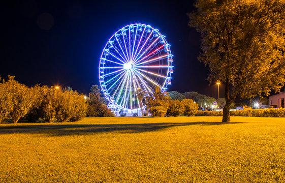 Night image of the Ferris wheel in Olbia, Sardinia