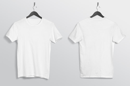 Front back of white plain crew neck t shirt hanging on wall