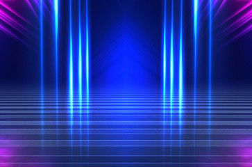 Empty background scene. Dark street reflection on wet asphalt. Rays of neon light in the dark, neon shapes, smoke. Background of an empty stage show. Abstract dark background. Fotomurales
