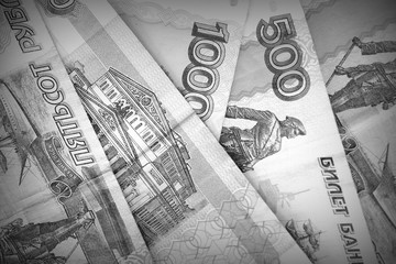 Russian rubles close-up black and white. Money background