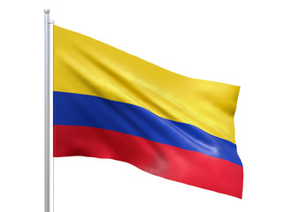 Photo sur Aluminium Amérique du Sud Colombia flag waving on white background, close up, isolated. 3D render