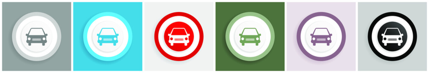 Fotomurales - Car icon set, colorful flat design vector illustrations in 6 options for web design and mobile applications