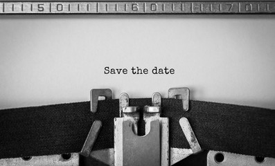 Text Save the date typed on retro typewriter