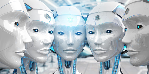 Group of female robots close to each others cyborg army concept 3d rendering