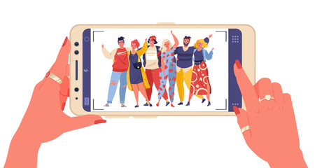 Female hands holding smartphone with young smiling men and women displaying on screen. Friends take pictures. Asked someone to take a photo. Flat colorful cartoon illustration.