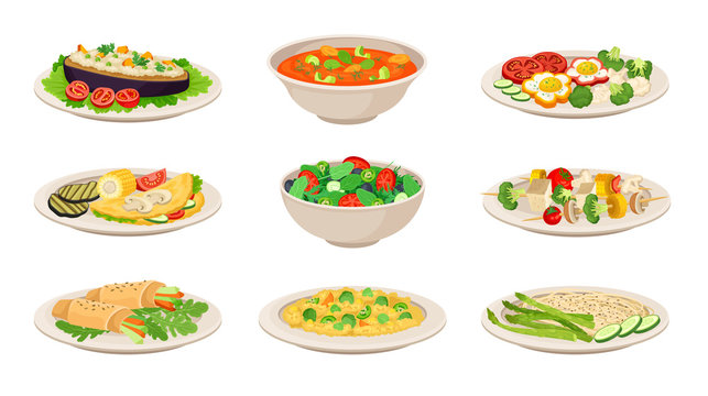 Vector Isometric Illustration Set With Vegetarian Dishes Isolated On White Background