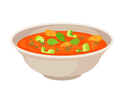 Vector Illustraion Of Vegetable Soup In Porcelain Bowl Isolated On White Background.