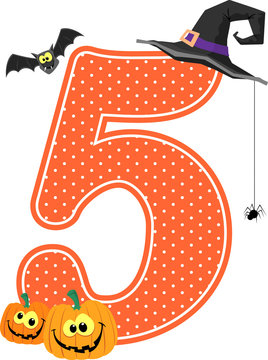 number 5 with smiling pumpkins and halloween design elements isolated on white background. can be used for nursery decoration or halloween paty invitation