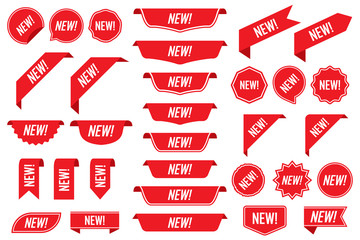 Set of new labels in red isolated on white background. Vector illustration
