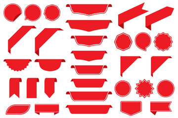 Set of blank labels in red isolated on white background. Ribbon set. Sticker set. Vector illustration