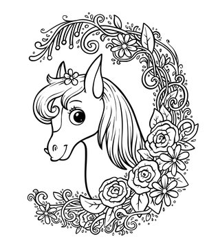 Coloring book, Cute pony in a floral frame