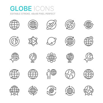 Collection of Globe and Earth related line icons. 48x48 Pixel Perfect. Editable stroke