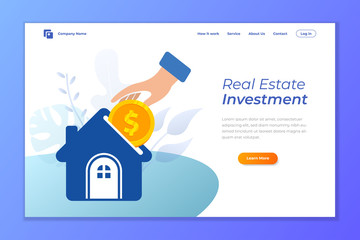 real estate investment vector landing page design