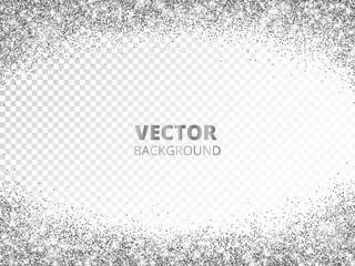 Sparkling glitter border, frame. Falling silver dust isolated on transparent. Vector glittering decoration.