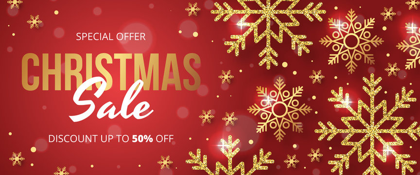 Christmas sale banner with golden snowflake on red background. Vector illustration