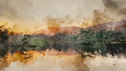 Wall Murals Beige Digital watercolor painting of Beautiful landscape image of Tarn Hows in Lake District