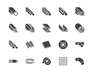 Stainless steel flat glyph icons set. Metal sheet, coil, strip, pipe, armature vector illustrations. Black signs metallurgy products, construction industry. Silhouette pictogram pixel perfect 64x64