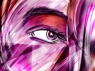 Purple colored eye and hair part makeup illustration