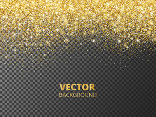 Sparkling glitter border, frame. Falling golden dust isolated on transparent background. Vector decoration.