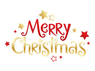 Wall Mural - MERRY CHRISTMAS red and gold vector hand lettering banner with stars