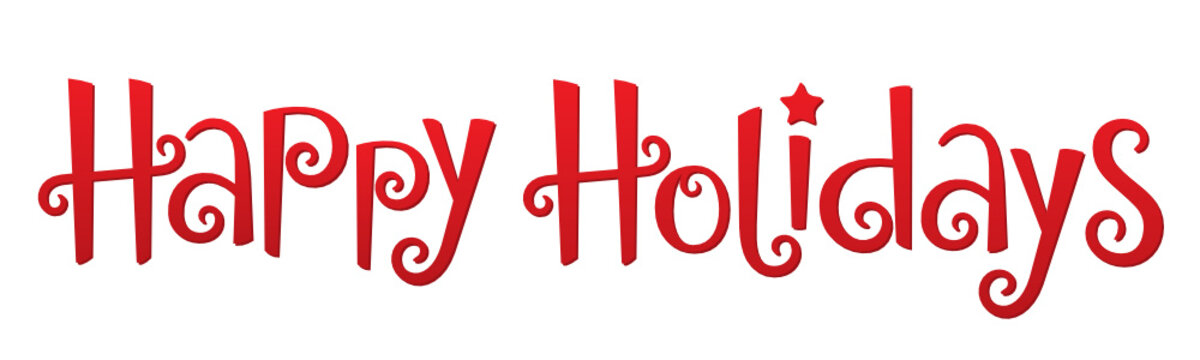 HAPPY HOLIDAYS vector hand lettering banner with star