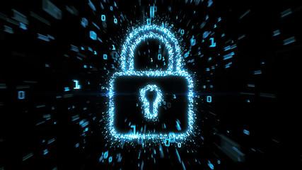 Blue digital padlock symbol illustration with streaming binary data