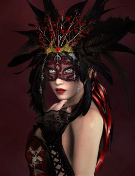 The queen of the party - mysterious woman with a red mask and feathers decorated headpiece