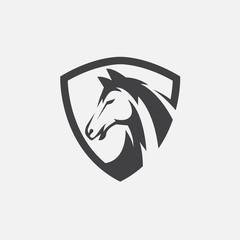 horse icon vector, horse head logo design, horse shield design illustration