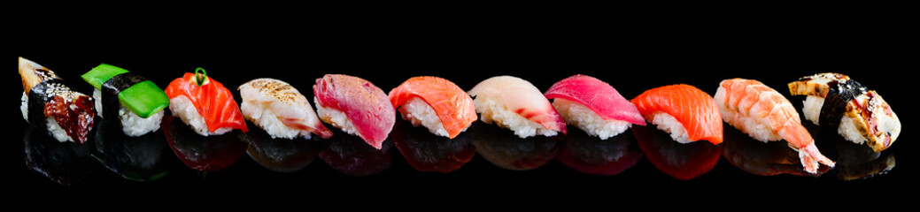 In de dag Sushi bar sushi set nigiri on a black background