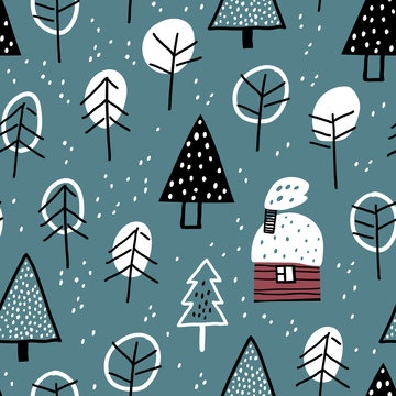 Hunting lodge in the winter forest. Winter landscape. Forest seamless pattern