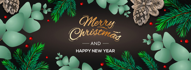 Merry Christmas and Happy New Year horizontal poster. Holiday template with branches eucalyptus, spruce branches and berries on dark background. Winter background, vector illustration.