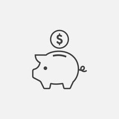 piggy bank outline icon vector illustration. piggy bank Linear symbol, earning icon illustration, piggy bank logo icon